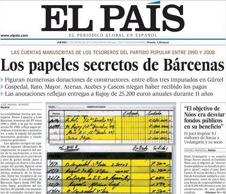 La portada de El País del 31 de gener d'enguany va fer esclatar el cas Bárcenas // EL PAÍS